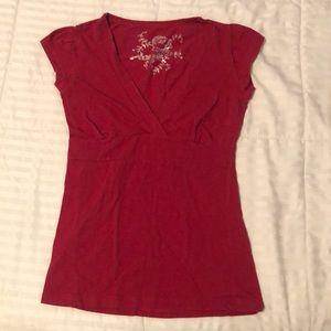 Red V neck top